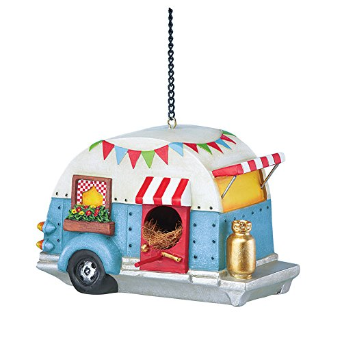 Collections Etc Caravan Camper Trailer RV Decorative Resin Hanging Birdhouse Garden (Birdhouses House Flag)