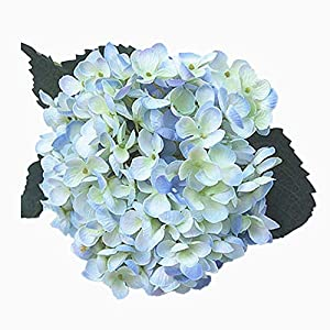 Shine-CO Artificial Hydrangea Flowers 4 Big Heads Bouquet Beautiful Flowers for Office Home Party Decoration (Light Blue) 87