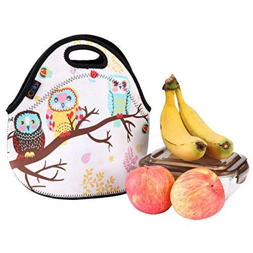iColor Lunch bag Picnic Tote Box Portable Outdoor Neoprene Cooler Thermal Neoprene Waterproof Container Insulated Zip Children School Lunch Carry Handle Tote sleeve case(Three Owl) (Owl Food)