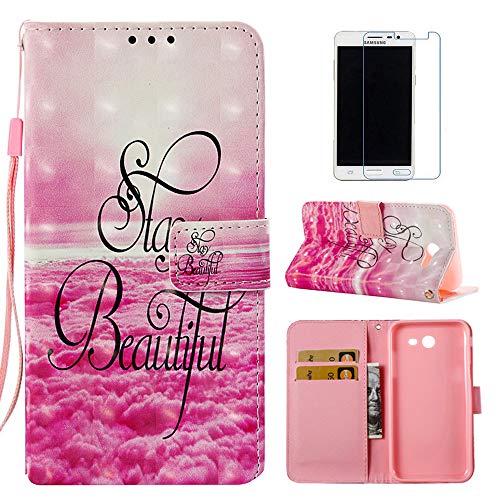 Galaxy J3 Emerge Case, J3 2017 Case, J3 Prime Case, Everun [Wrist Strap] [Stand] Luxury PU Leather Wallet Case Flip Cover for Samsung Galaxy J3 Emerge/J3 2017/J3 Prime (Beautiful)