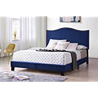 Kings Brand Furniture Clarno Blue Velvet Nailhead Queen Size Upholstered Bed