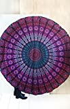 Mandala Round Tapestry Hippie Indian Mandala Roundie Picnic Table Cover Hippy Spread Boho Gypsy Cotton Tablecloth Beach Towel Meditation Round Yoga Mat - 72 Inches, Purple and Pink