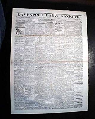 Rare DAVENPORT Iowa Civil War Era Battle of Ivy Mountain Kentucky 1861 Newspaper DAVENPORT DAILY GAZETTE, Iowa, November 13, 1861