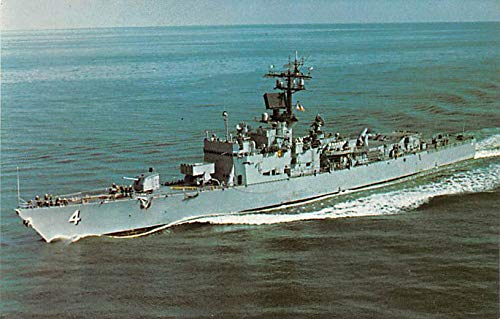 Military Battleship Postcard, Old Vintage Antique Military Ship Post Card USS Talbot, Guided Missile Escort Ship Unused