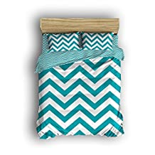 Twin Size Bedding Set- Chevron Zig Zag Duvet Cover Set Bedspread for Childrens/Kids/Teens/Adults-Teal Turquoise,4 Piece 100 % Cotton