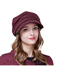 Pleated Peaked Newsboy Cap With Visor Women Autumn Winter Warm Knitted Multicolor