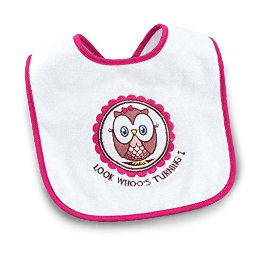 - 1st Birthday Owl Party Look Whoo's 1 Pink Bib