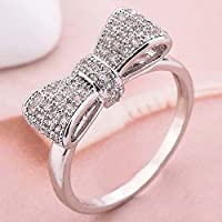 Promsup New Women Fashion 925 Silver White Sapphire Bow Ring Wedding Engagement Jewelry (8)