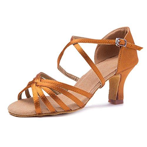 Roymall Dames Bruin Satijn Latin Dansschoenen Ballroom Salsa Tango Performance Schoenen, Model Wzjcl-7,7 B (m) Us