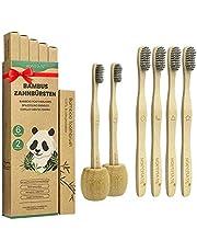 Set van 6 bamboe tandenborstels + 2 tandenborstelhouders, veganistische houten tandenborstel voor de beste zuiverheid, 100% BPA-vrij, bamboe-tandenborstel met zachte bamboehoutskoolborstelharen, verschillende markeringen en recyclebare verpakking