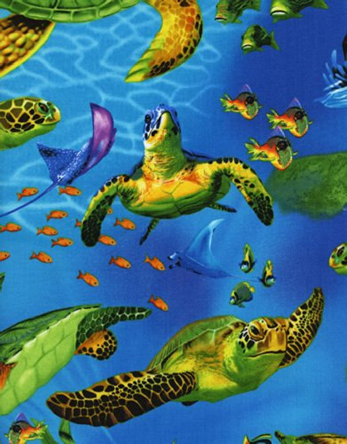 Timeless Treasures Turtles by Michael Searle Quilt Fabric C2986 Fat Quarter (Quilt Fabric Timeless Treasures)