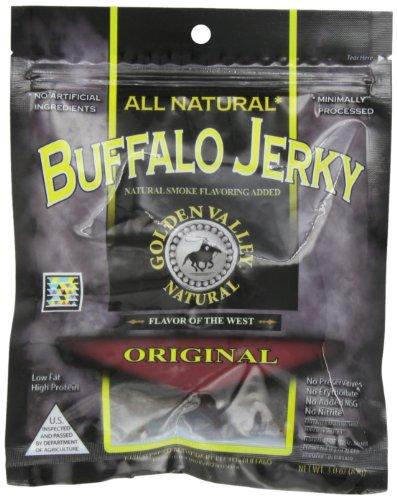 Golden Valley Natural Buffalo Jerky, Original, 3-Ounce Pouch (Pack of 8)