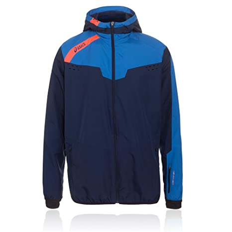 83875f2d64a Amazon.com : ASICS Windbreaker Mens Running Jacket - Blue : Clothing
