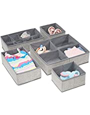 mDesign Fabric Baby Nursery Closet Organizer Clothes, Towels, Socks, Shoes, Diapers - Set of 5, Gray