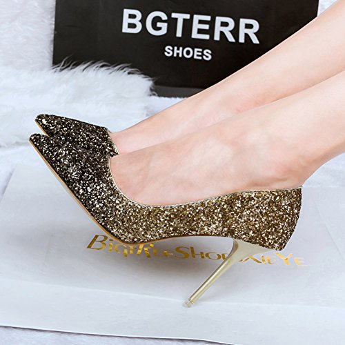 Women's Spangle Pointed-Toe Platform High Heels Stilettos Dress Wedding Party Pumps Shoes Gold D2s6pGZLhu
