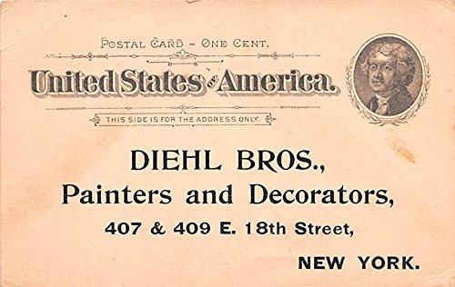 Hardware Advertising Old Vintage Antique Post Card Diehl Bros Painters & Decorators Unused