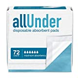 allUnder Disposable Underpads for Incontinence, Maximum Absorbency Bed Pads, 4 Packs of 18, Total Count 72
