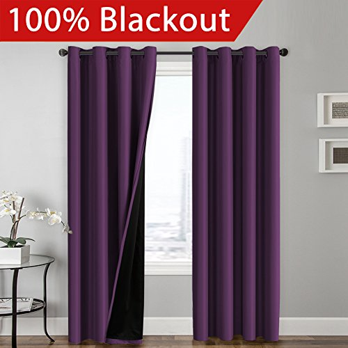 100% BLACKOUT Curtain Set, Thermal Insulated & Energy Efficiency Window Drapery, Lined Silky Performance, Indigo Plum Color, Grommet, Set of 2 , W52 x L84