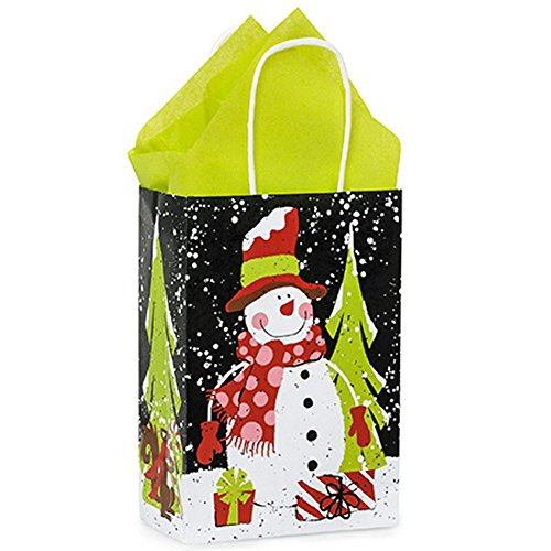 Chalkboard Snowman Paper Shopping Bags - Rose Size - 5.5x3.25x8.375in. - 250 Pack by NW