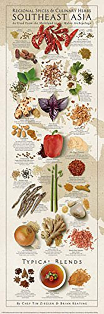 Regional Spices and Culinary Herbs Southeast Asia Keating Kitchen Cooking Print Poster 12x36