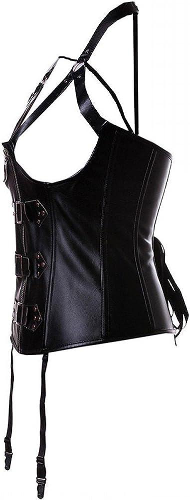 colore: nero Nero Underbust in ecopelle con stecche in acciaio stile Steampunk con chiusura con cerniera M Beauty-You corsetto da donna