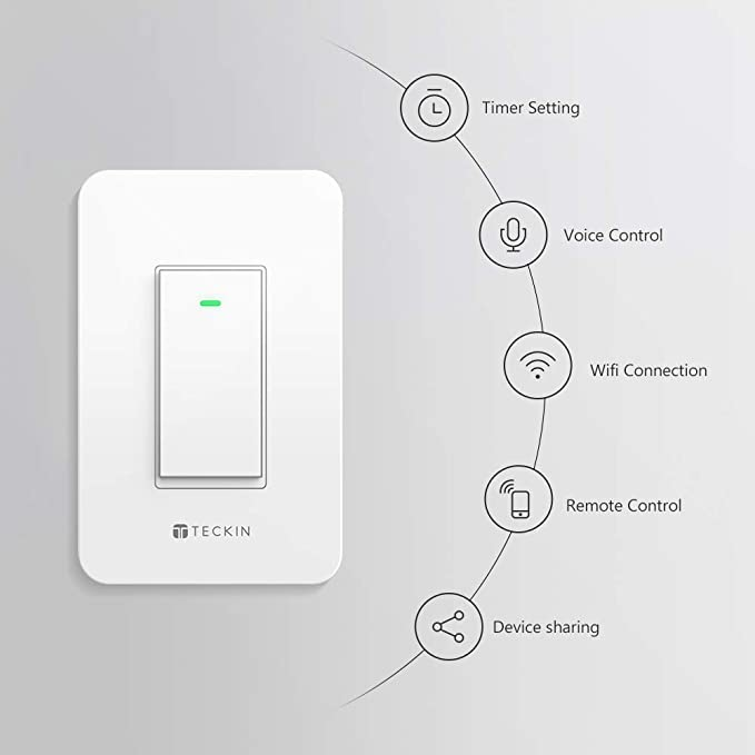 Smart Wi-Fi Light Switch TECKIN Work With Alexa and Google home,Control  Lighting from Anywhere, Easy In-Wall Installation,No Hub Required(1 PC)