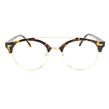 fc0d2ae1f9 EyeBuyExpress Prescription Mens Womens Tortoise Gold Quarter Frame Rounded  Retro Style Reading Glasses Anti Glare Quality