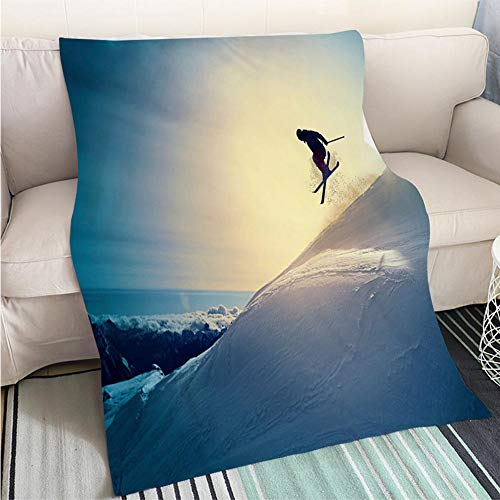 Breathable Flannel Warm Weighted Blanket Extreme Freestyle Snow Skier Jumping Off Pist Back Country Skiing Perfect for Couch Sofa or Bed Cool Quilt