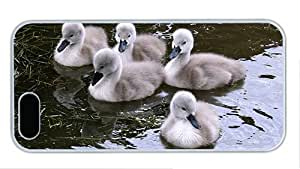 Fashion grove iphone 5S cover Swan baby in the water PC White for Apple iPhone 5/5S