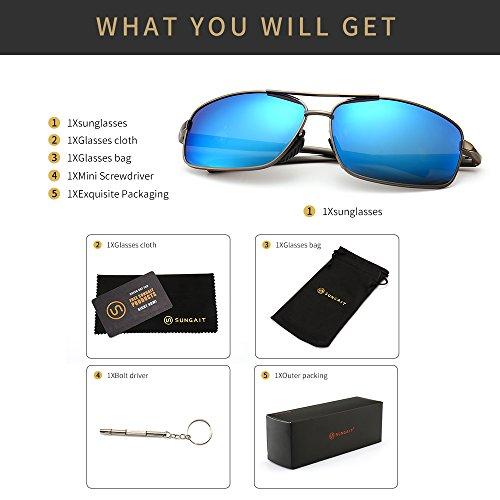 6ccf3b7014a09 SUNGAIT Ultra Lightweight Rectangular Polarized Sunglasses 100% UV  protection (Gunmetal Frame Blue Mirror Lens