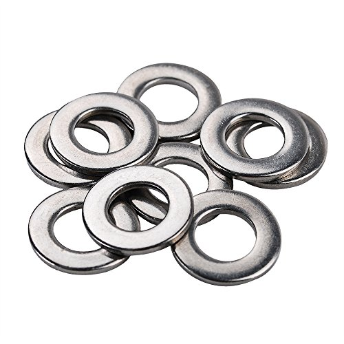 HIFROM 100pcs M10 Flat Washers 304 Stainless Steel Metric Flat Washers Set for Bolt Screw (M10X20X2mm)