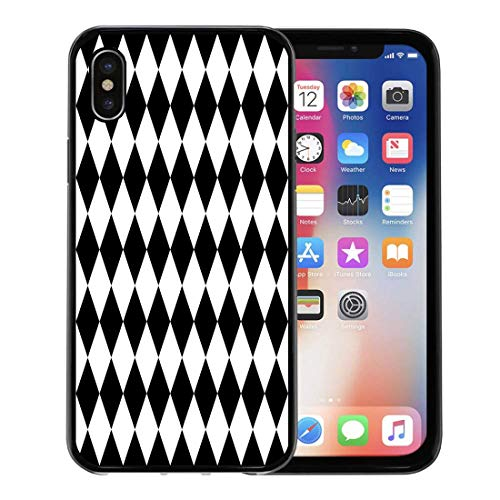 Semtomn Phone Case for Apple iPhone Xs case,Harlequin Black and Pattern Halloween White Abstract Baby Bathroom for iPhone X Case,Rubber Border Protective Case,Black