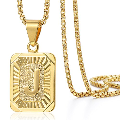 Trendsmax Mens Womens Yellow Gold Plated Square Capital Letter J Pendant Necklace Stainless Steel Box Link Chain 22inch
