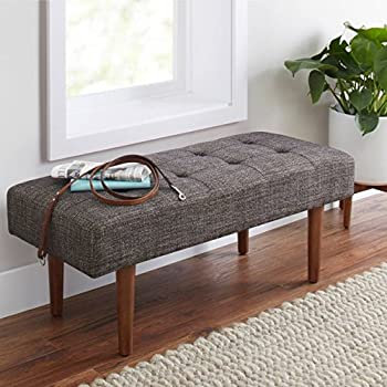 flynn mid century modern upholstered bench made w wood and fabric in black and onyx