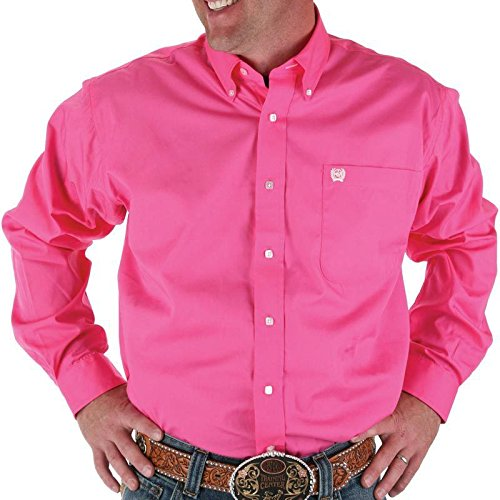 (Cinch Men's Solid Button-Down Western Shirt Pink X-Large)