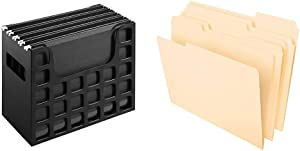 "Pendaflex Portable Desktop File, 9-1/2"" x 12-3/16"" x 6"", Black (23013) & File Folders, 8-1/2"" x 11"", Classic Manila, 1/3-Cut Tabs in Left, Right, Center Positions, 100 Per Box (65213)"