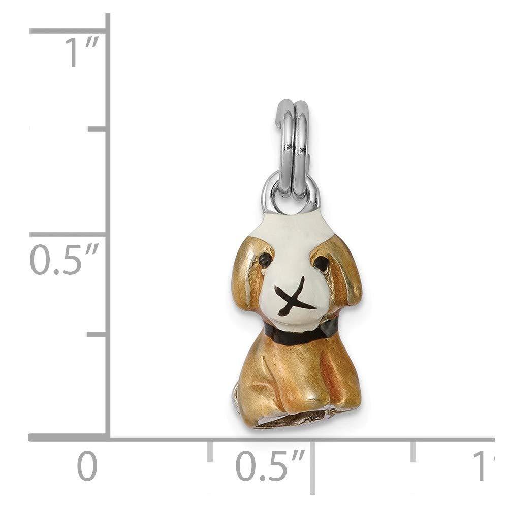 Sonia Jewels Sterling Silver Enamel Dog Pendant Charm 12mm x 20mm