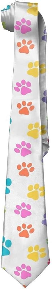 Leisure Skinny Colored Animal Footprints Necktie Ties Novelty Necktie Silk