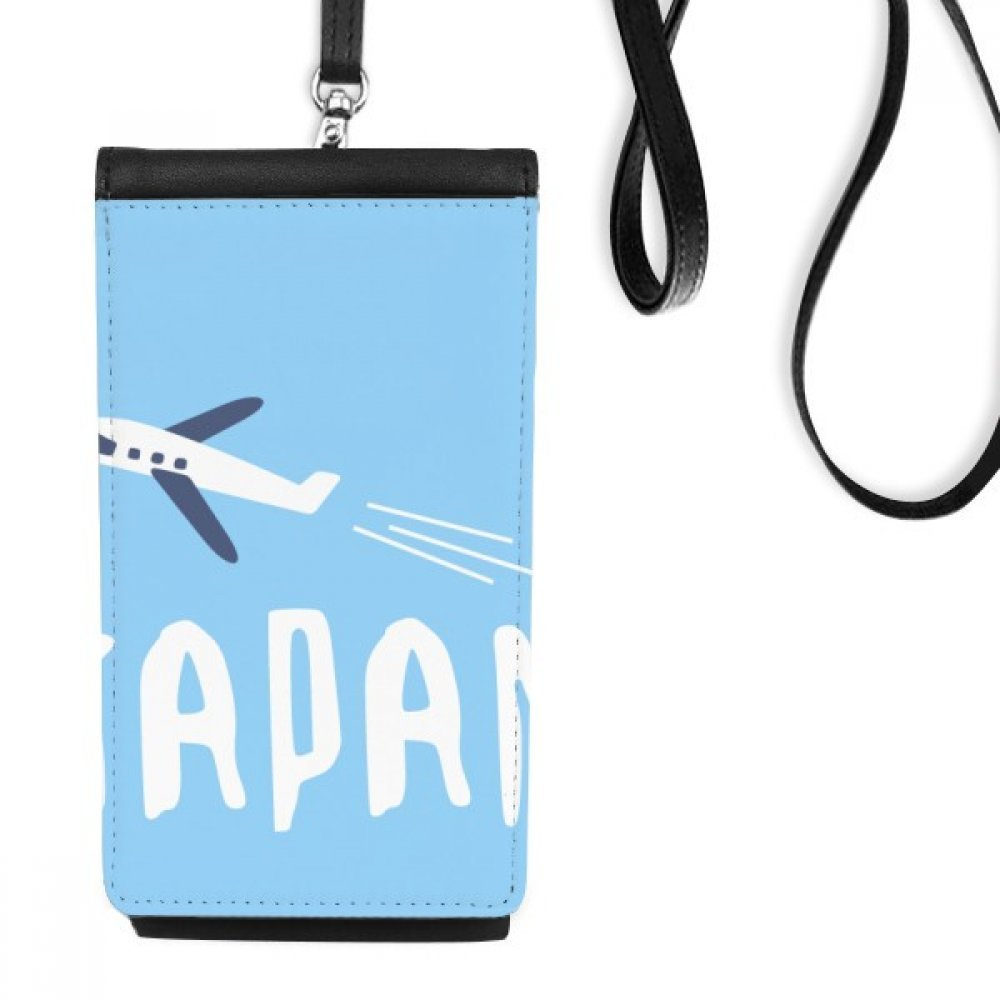 Japanese Airplane Travel Wellcome Faux Leather Smartphone Hanging Purse Black Phone Wallet Gift