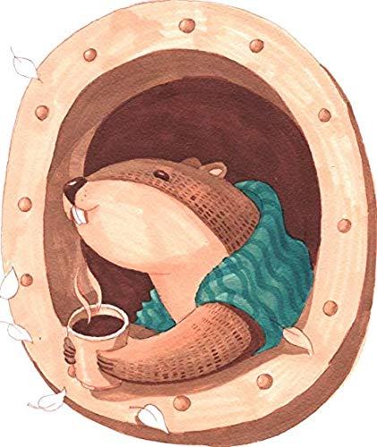 Cute Adorable Squirrel Enjoying A Cup of Coffee Cartoon Truck Car Bumper Sticker Vinyl Decal - Enjoying Squirrels