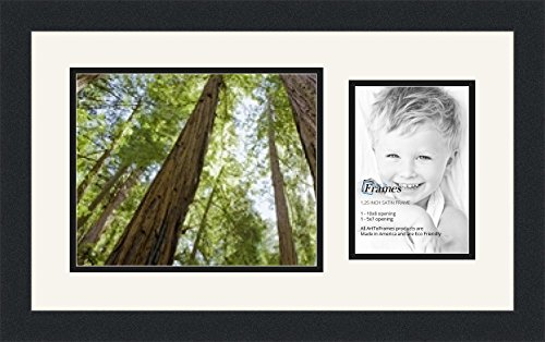 ArtToFrames Collage Photo Frame Double Mat with 1 - 5x7, 8x10 Openings and Satin Black Frame