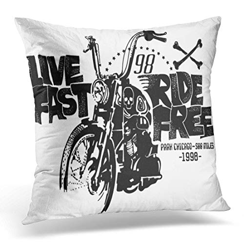 (Emvency Throw Pillow Cover Tee Biker Motorcycles and Stamp Effect for Motorbike Vintage Decorative Pillow Case Home Decor Square 18