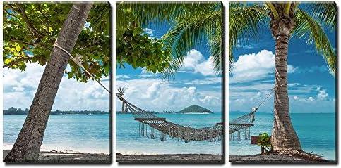 Hammock on Tropical Beach Wall Decor x3 Panels