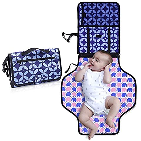 Diaper Changing Pad with Bonus Loop for Toys- Portable Diaper Changing Kit for Dads & Moms -Changing Station Organizer for Outdoor & Travel - Play Mat On The Go- Perfect Baby Shower - Travel Pad