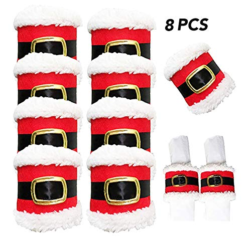 Christmas Napkin Rings Holder,8 Pcs Santa Belts Design for Party Dinner Table Décor Christmas New Year (Rings Fabric Napkin)