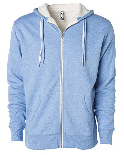 Global Blank Unisex Heavyweight Sherpa Lined Zip Up Fleece Hoodie Jacket Sky S