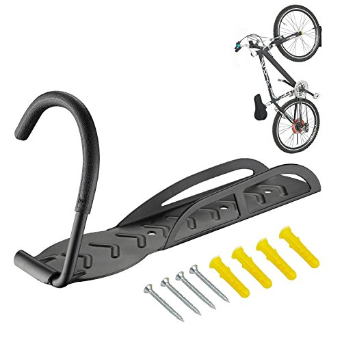 NewDoar Heavy Duty Solid Steel Wall Ceiling Bike Rack to Save The Space in Your Home - Super Easy to Install with Provided Mounting Hardware Vibrant Black