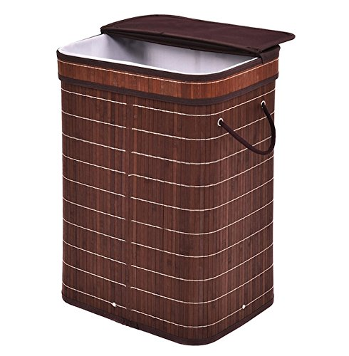 Brown Rectangular Bamboo Hamper Laundry Basket With Folding Lid Bathroom Bedroom Cloth Sorter Storage Home Decor Clothes Wash Washing Organizer Bin Bag Portable Functional And - Adelaide Myer Store