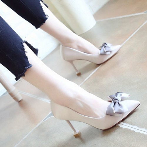 Fashion Bow Heels Fine with Pointed Female Shoes Light Breath Quality Shoes A xivzhW