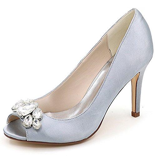 9 Peep Raso Pietre 35 Elobaby Toe da Scarpe Donna Sandalo da 43 Scarpe Corte Silver Sposa Taglia in Heel zazqRpS